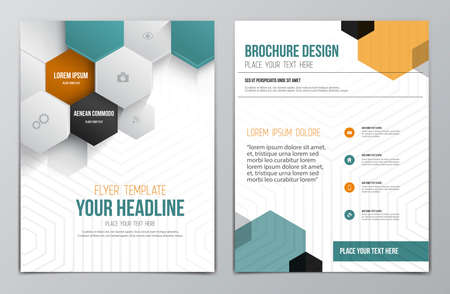 Brochure Design Template. Geometric shapes, Abstract Modern Backgrounds, Infographic Concept. Vector Çizim
