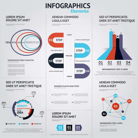 Big set of infographic elements. Flat style. Vector Vector