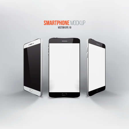 Smartphones vector mockup black and white. Can use for background frame ,brochure object ,web element. Vector Vector