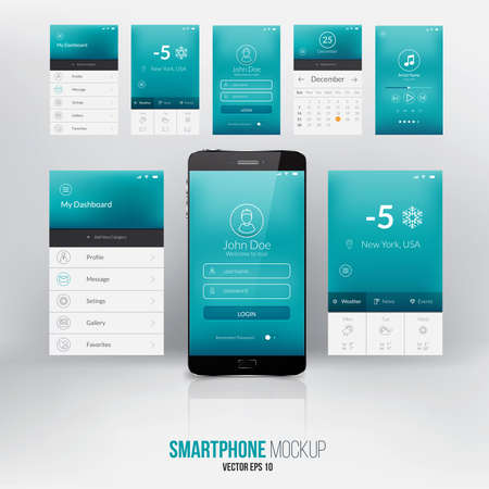 elementos: Plantilla moderna pantalla de interfaz de usuario para el tel�fono m�vil inteligente o sitio web.