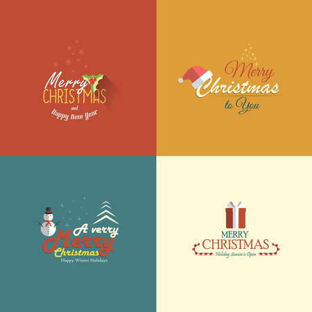 Collection of Holidays cards.Flat design. Vector Vector