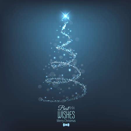 seasons greetings: Albero di Natale astratto dalla luce. Biglietto di auguri o invito. Vettore