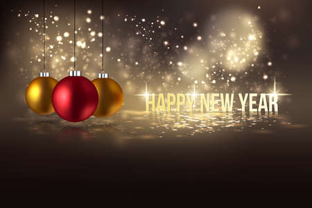 bright card: Happy New Year Hanging Baubles. Can be used as holiday poster or greeting card. Vector