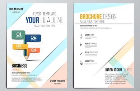 パンフレット デザイン Template.Education 概念は、幾何学的図形、現代の抽象的な背景, インフォ グラフィックのコンセプト。ベクトル