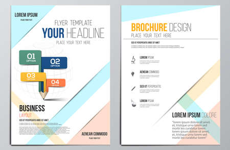 Brochure Design Template.Education concept, Geometric shapes, Abstract Modern Backgrounds, Infographic Concept. Vector