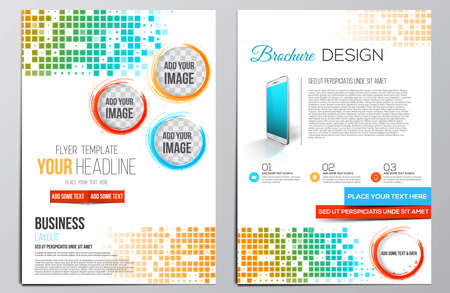 Brochure Design Template. Geometric shapes, Abstract Modern Backgrounds, Infographic Concept. Vector  イラスト・ベクター素材