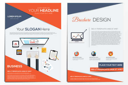 Brochure Design Template. Geometric shapes, Abstract Modern Backgrounds, Infographic Concept.Flat design. Vector Çizim