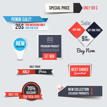 element: Collection of Sale Discount Styled origami Banners. Vector