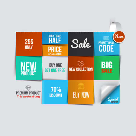 Farbkarten verkaufen. Kann als Sale Rabatt Banner verwendet werden. Vektor Standard-Bild - 34611103