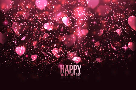 Happy Valentines Day card with hearts. Can be used for wallpaper, canvas print, decoration, banner, advertising. Vector Illustration