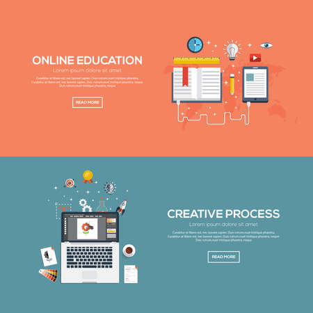 Flat designed banners for online education and creative process. Vector