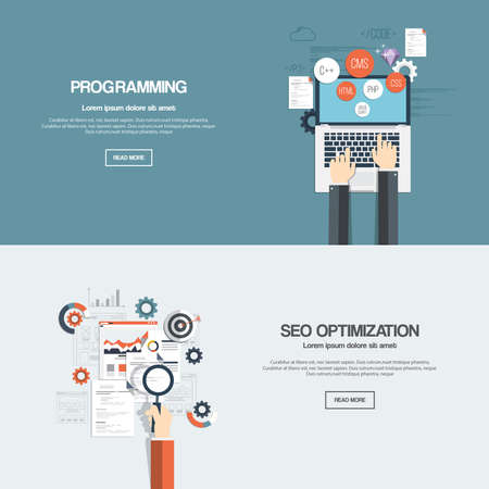 web development: Flat designed banners for programming and seo optimization. Vector Illustration