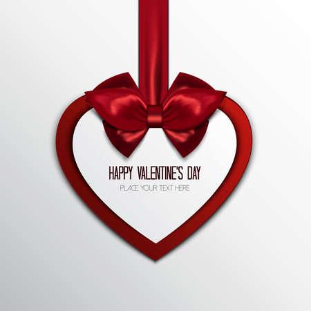 バレンタインのグリーティング カードの背景。ご挨拶と赤のハートのハンギング。ベクトル
