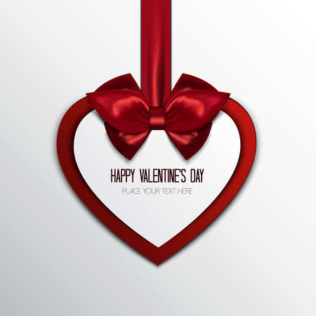 Valentines greeting card-background. Hanging red heart with greetings.Vector