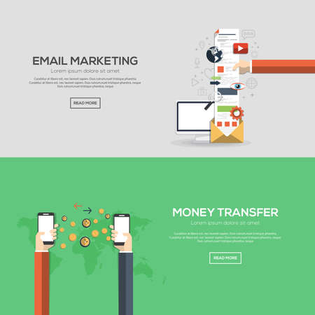 online news: Flat designed banners for email marketing and money transfer. Vector