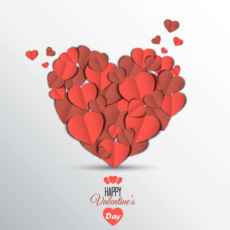 canvas print: Paper heart Valentines day card. Can be used for wallpaper, canvas print, decoration, banner, advertising. Vector