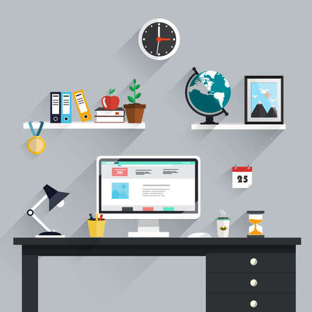 creativity concept: Workspace, workplace icons and elements in minimalistic style and color. Education process. Flat design. Vector