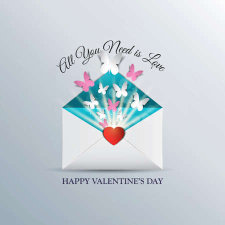 the day off: Butterfly take off from inside open envelope , concept love , Valentine Day. Can be used for wallpaper, canvas print, decoration, banner, advertising. Vector Illustration