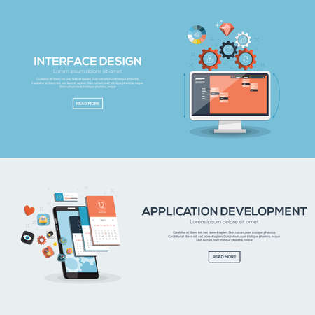 Flat designed banners for interface design and application development. Vector Çizim