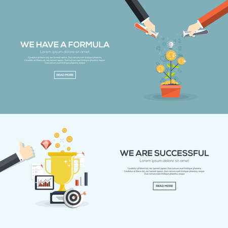 business support: Flat designed banners for we have a formula and we are successful. Vector