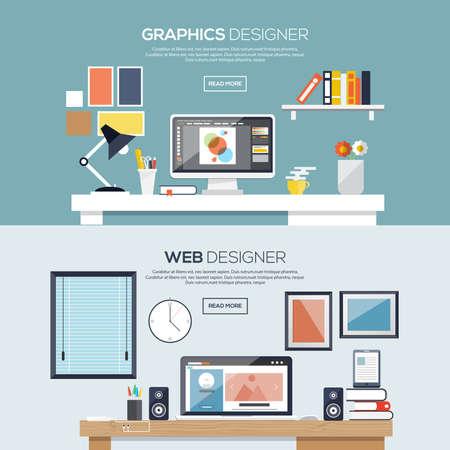 ordinateur bureau: Appartement bannières conçus pour les graphiques et web designer. Vecteur