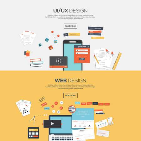 conception: Appartement conçu bannières pour la conception ui-ux conception andweb. Vecteur Illustration