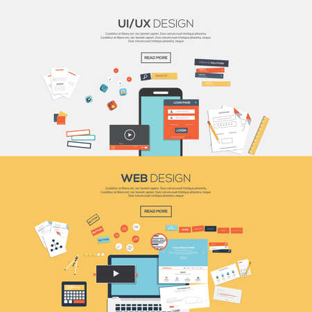 web development: Flat designed banners for ui-ux design andweb design. Vector