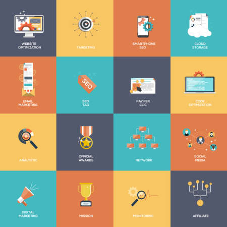 contents: Set of SEO and Marketing icons. Flat design. Vector