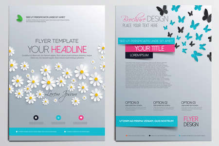 Brochure Design Template. Flower concept, Abstract Modern Backgrounds, Infographic Concept. Vector  イラスト・ベクター素材