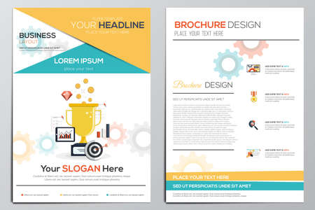 Brochure Design Template. Geometric shapes, Abstract Modern Backgrounds, Infographic Concept.Flat design. Vector  イラスト・ベクター素材