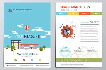 パンフレットのデザインのテンプレートです。幾何学的図形、現代の抽象的な背景インフォ グラフィック Concept.Flat デザイン。ベクトル