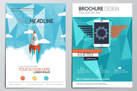 Brochure Design Template. Geometrische vormen, Abstract Modern Achtergronden, Infographic Concept.Flat design. Vector