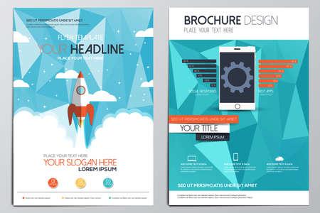 Modello di progettazione brochure. Forme geometriche, sfondi moderni astratti, concetto Infographic. Design piatto. Vettore Archivio Fotografico - 35646942
