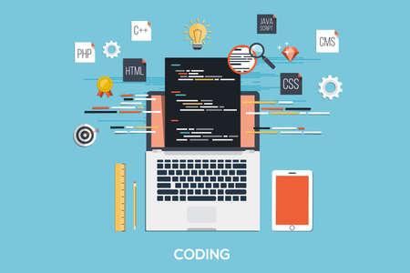 Platte ontwerp moderne concept van processen webpagina codering en het programmeren op laptop met workflow objecten en pictogrammen