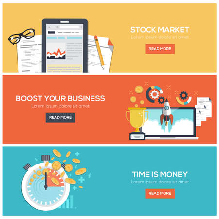 time money: Flat designed banners for stock market Illustration