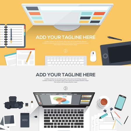 フラット デザイン創造的なプロジェクト、グラフィック デザインの開発、ビジネス、金融のバナー