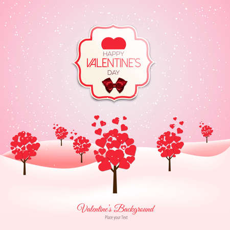 heart shaped leaves: Valentine trees landscape with heart shaped leaves