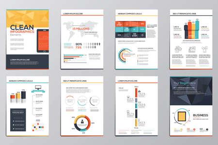 the brochure: Infograf�a Negocio elementos para folletos corporativos. Colecci�n de elementos infogr�ficos modernas en un concepto folleto y el folleto. Dise�o plano. Vector