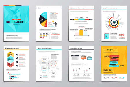 flyer: Business infographics elements for corporate brochures. Collection of modern infographic elements in a flyer and brochure concept. Flat and clean design. Vector