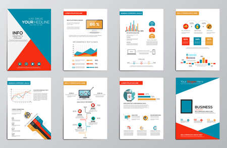 information symbol: Business infographics elements for corporate brochures. Collection of modern infographic elements in a flyer and brochure concept. Flat design. Vector