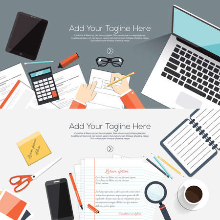 work table: Flat designed banners for creative project, graphic design development, business, finance. Vector