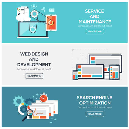 Flat designed banners for service, web design and  development and SEO. Vector