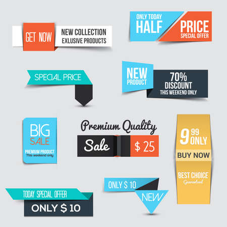 sale tags: Collection of Sale Discount Styled origami Banners Illustration