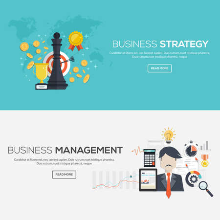 gestion empresarial: Banderas diseñadas planas para la estrategia comercial y de gestión de negocios. Vector Vectores