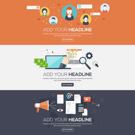 Flat ontworpen banners voor sociaal netwerk, betalen per klik en digitale marketing. Vector Stock Illustratie
