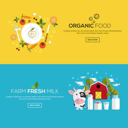 l�gumes verts: Appartement banni�res con�us pour les aliments biologiques et de la ferme du lait frais. Vecteur Illustration