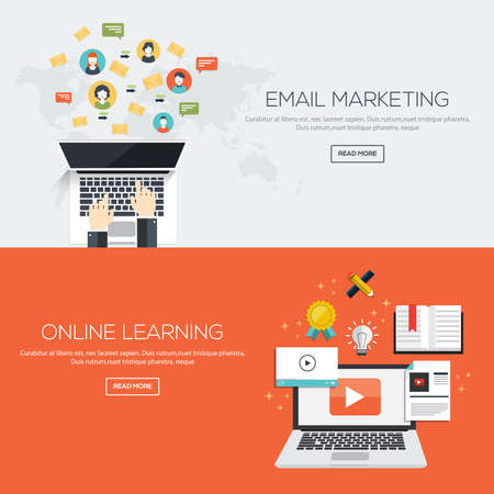 email icon: Flat designed banners for Email marketing and Online Learninig. Vector Illustration