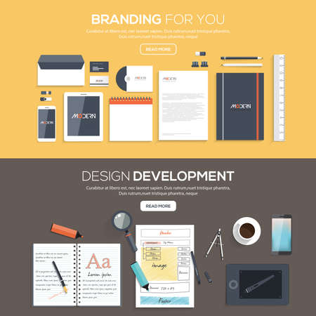 for the design: Flat designed banners for Branding for you and Design development. Vector Illustration