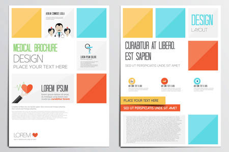 medical student: Medical Brochure Design Template. Geometric shapes, Abstract Modern Backgrounds, Infographic Concept.Flat design. Vector