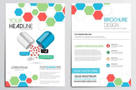의료 브로셔 디자인 템플릿. 기하학적 인 도형, 추상 현대 배경, 인포 그래픽 Concept.Flat 디자인. 벡터